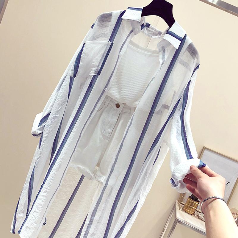 2018夏装新款防晒衣女中长款超薄款防紫外线宽松时尚披肩外搭开衫