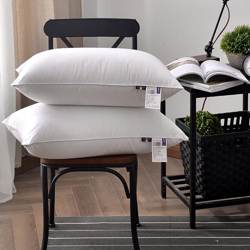 一对装)全棉羽丝绒枕芯酒店宾馆单双人学生宿舍纯棉枕头芯儿童枕