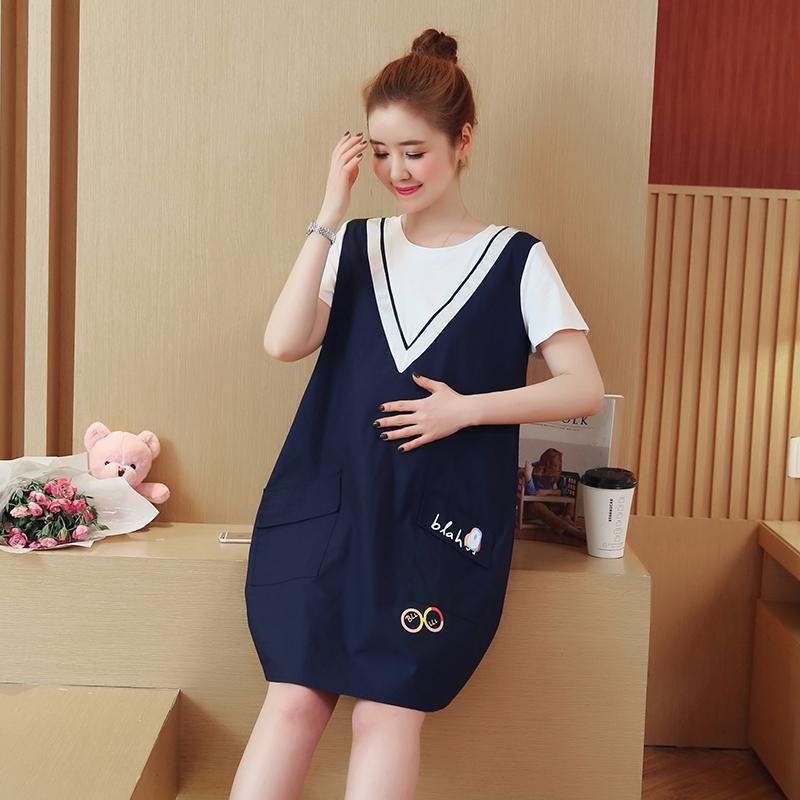实拍大量现货 2018新款韩版时尚印花宽松棉麻深蓝大码孕妇连衣裙