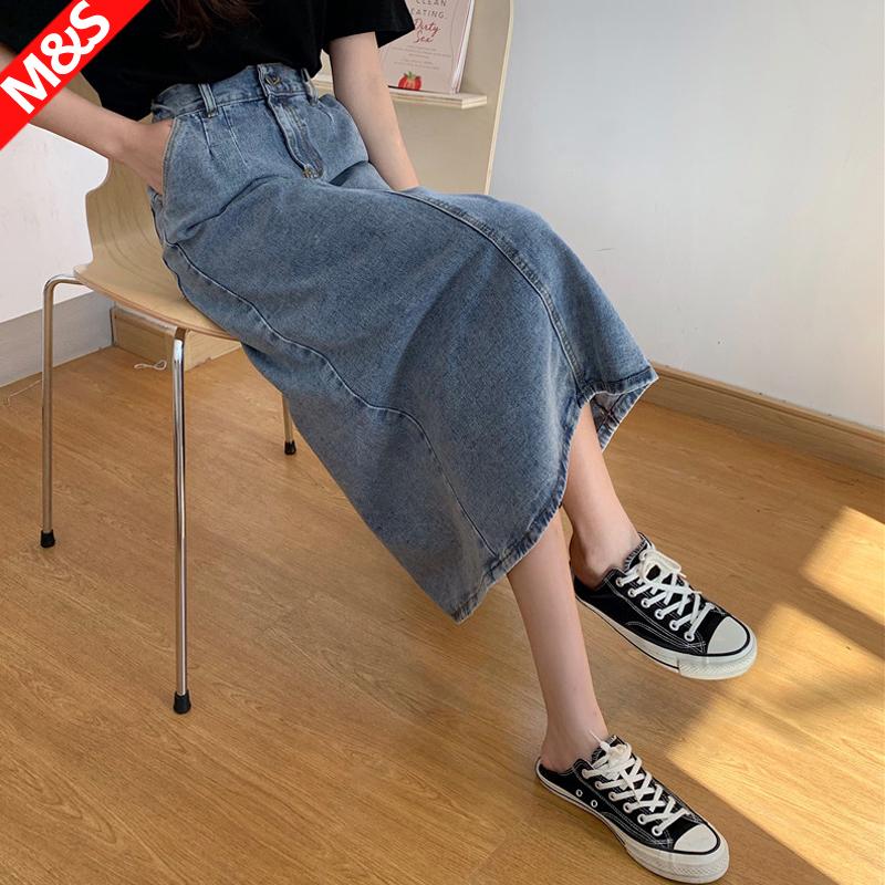 牛仔半身裙女2020新款复古包臀高腰遮胯中长款A字过膝小个子长裙
