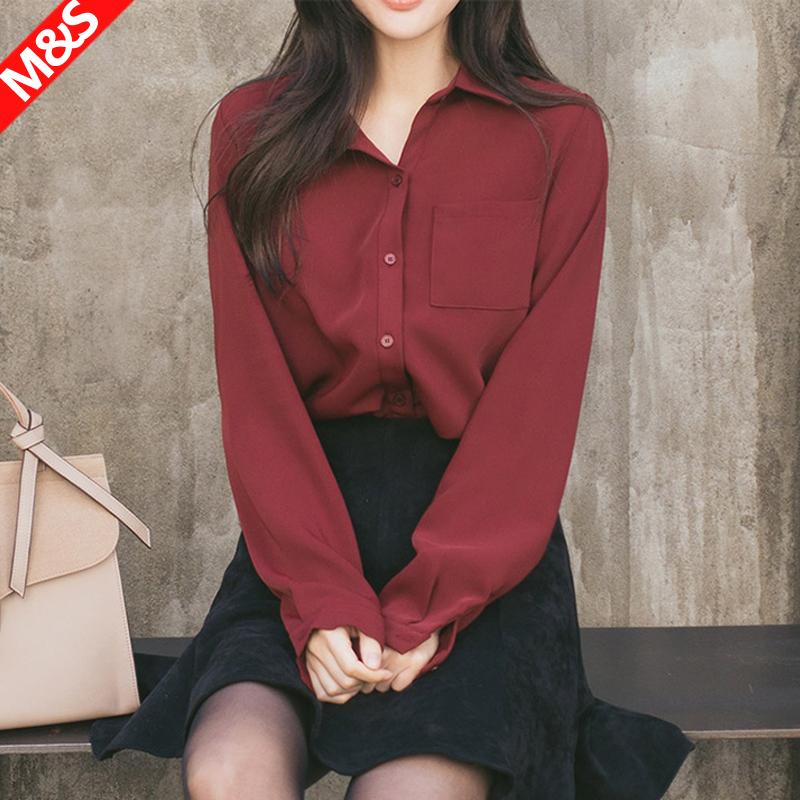 2018春装韩版酒红色上衣通勤宽松显瘦垂感纯色白色雪纺衬衫女长袖