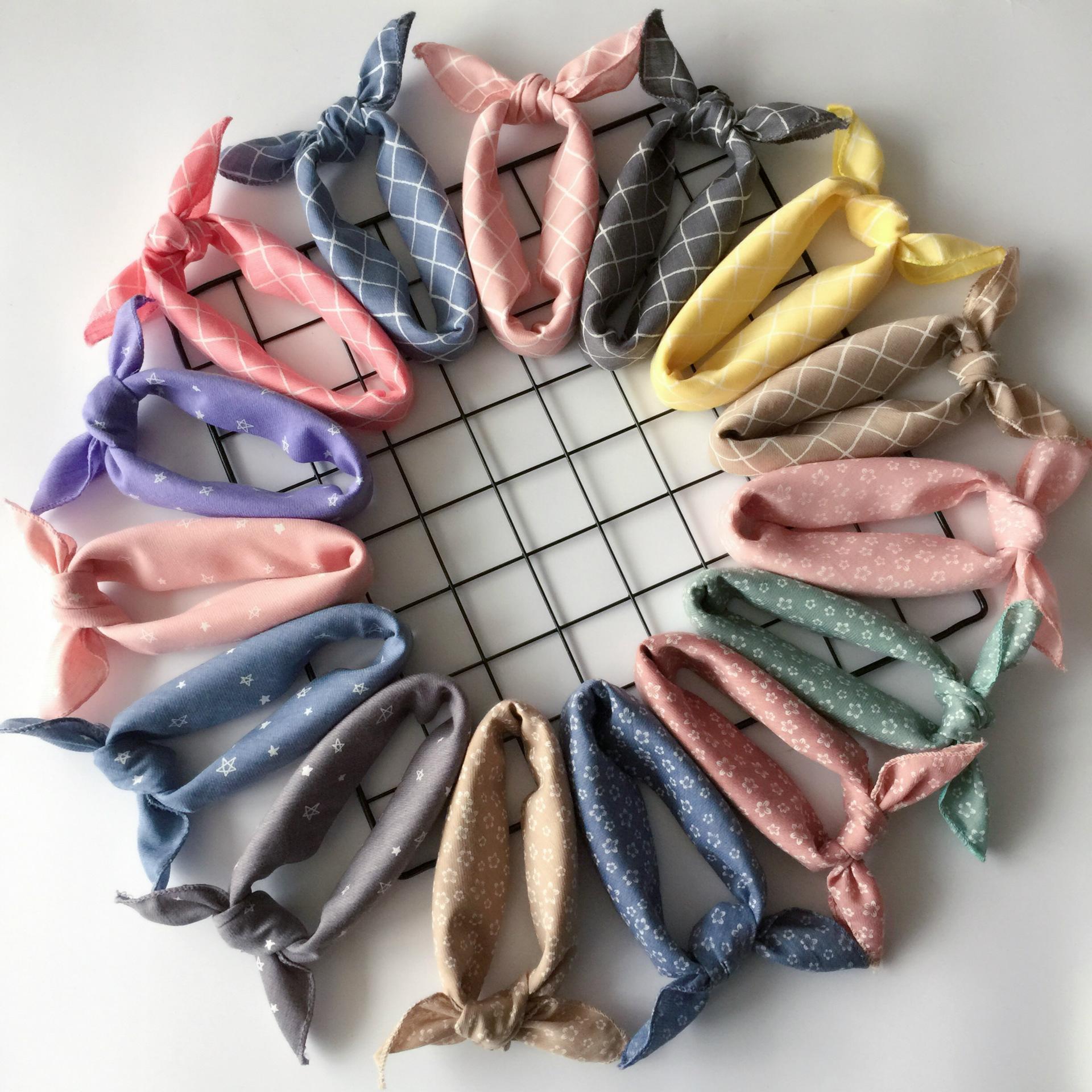 Корея простой фасон мальчиков и девочек, сетка хлопок малый квадрат корейский еда полотенце носовой платок шарф шарф заставка