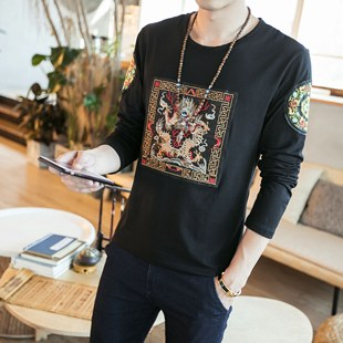 龍袍圖案中國風男裝清朝官服刺繡長袖t恤上衣服裝民族復古風小衫