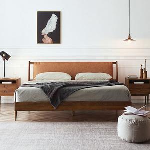 实木床皮革软靠北欧现代简约1.8米1.5米双人床实木主卧床卧室家具