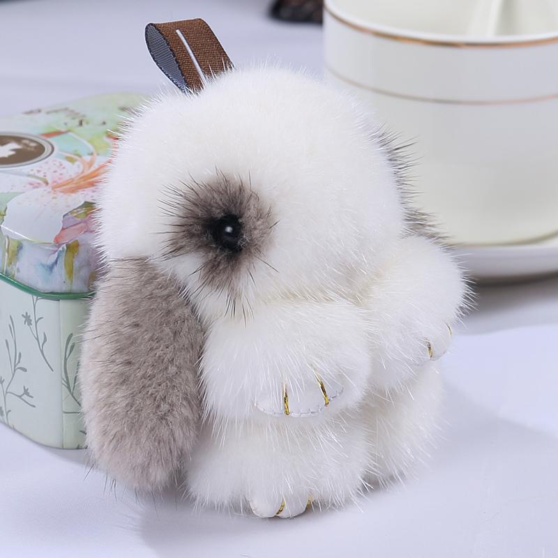 水貂毛绒可爱装死小兔子挂件迷你獭兔包包真毛小号手机汽车钥匙扣