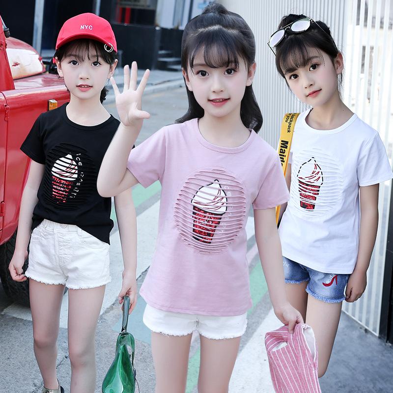 5女童短袖T恤8夏装9中大童小学生女孩10镂空甜筒12印花13儿童15岁