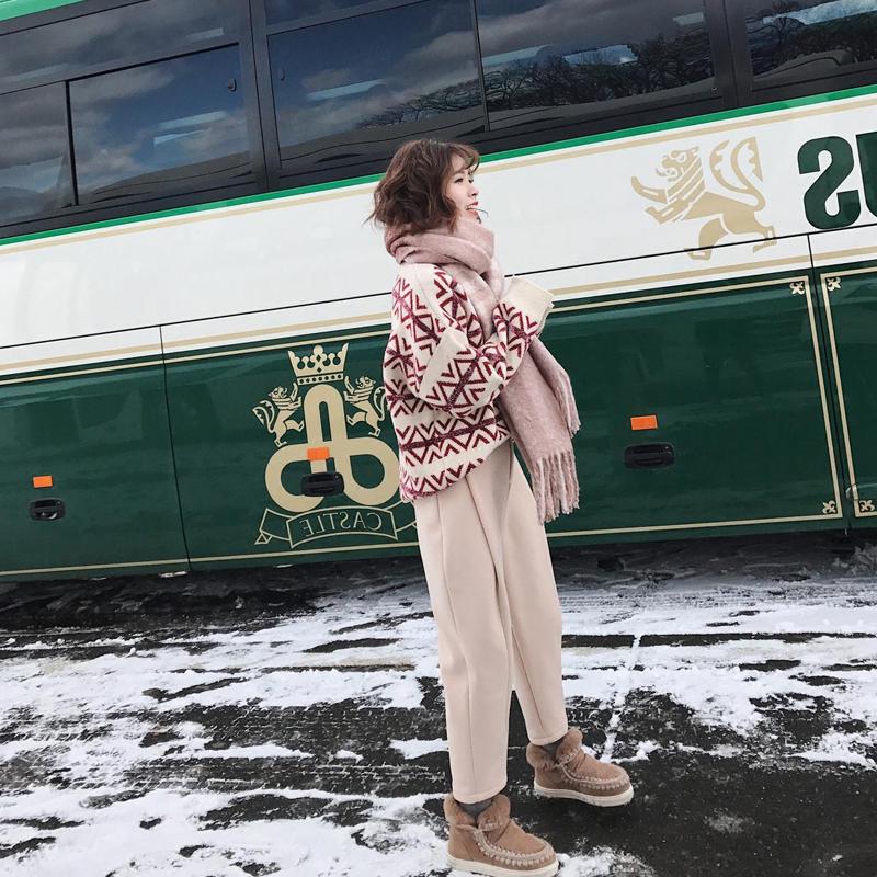 心机俏皮慵懒风森女系女神范宽松网红毛衣阔腿裤两件套装衣服冬季