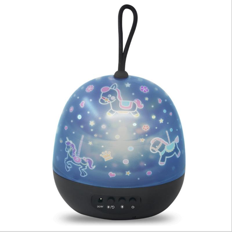 新款USB星空投影手提灯旋转星星月亮宇宙海洋独角兽氛围LED小夜灯