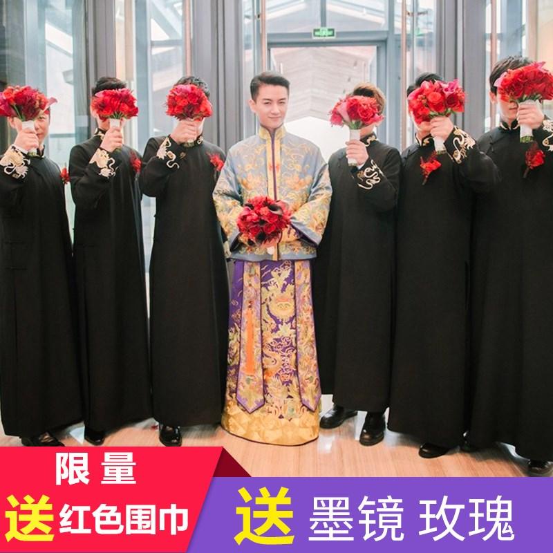 陈晓陈妍希同款中式结婚礼服伴郎伴娘服男士长衫大袍马褂接亲古装