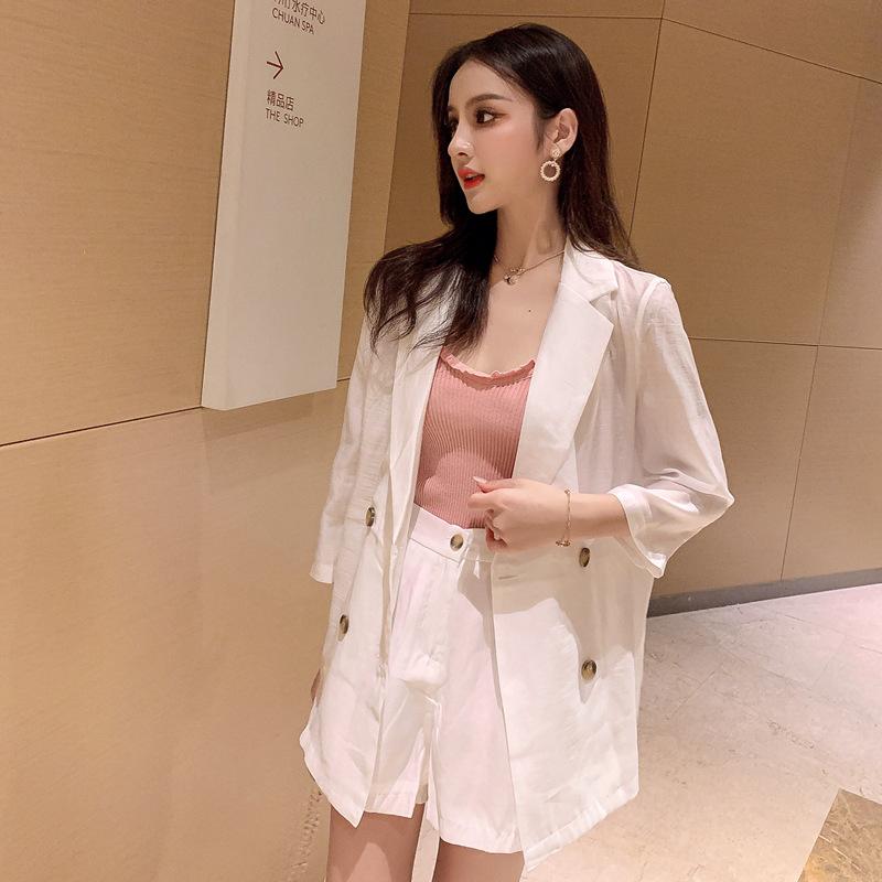 实拍~小视频~2021夏款1888韩版防晒纯色小西装两件套三件套装女