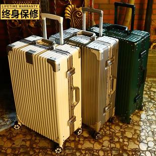 复古直角行李箱铝框24万向轮男大容量密码 拉杆箱皮女20寸登机旅行
