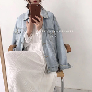 浅蓝色牛仔衣女2021年春秋季新款韩版bf宽松外套潮ins短款牛仔褂