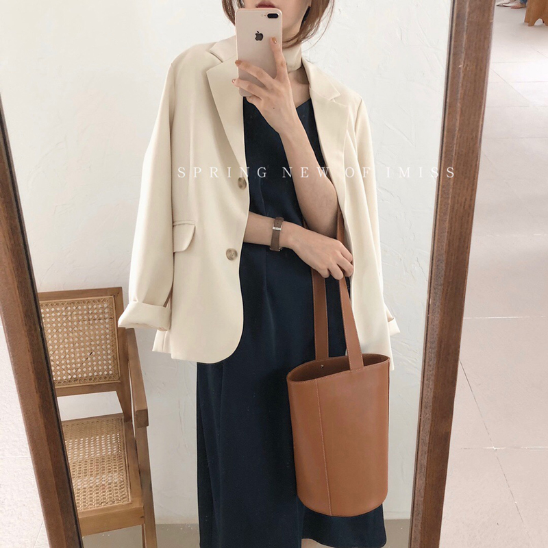 韩版温柔小香风西装女2020春季新款休闲短款外套宽松百搭chic西服