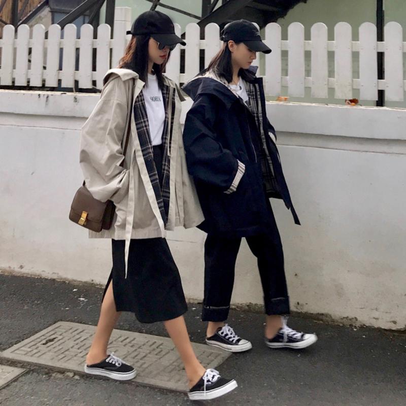 春夏新款韩版小个子chic外套风衣女装中长款宽松长袖连帽帅气上衣