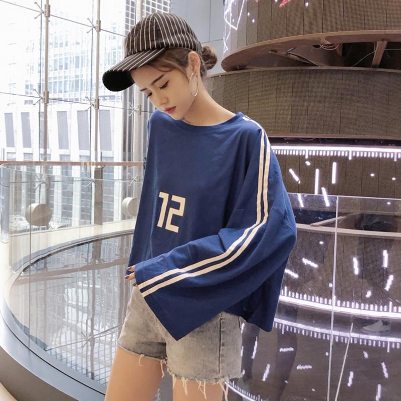衣服女夏2018新款韩版时尚百搭垂感宽松数字条纹长袖T恤短款上衣
