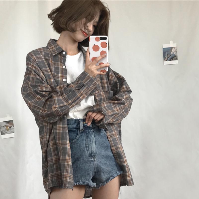 学生百搭格子衬衫2018夏装新款韩版chic宽松显瘦长袖上衣衬衣女