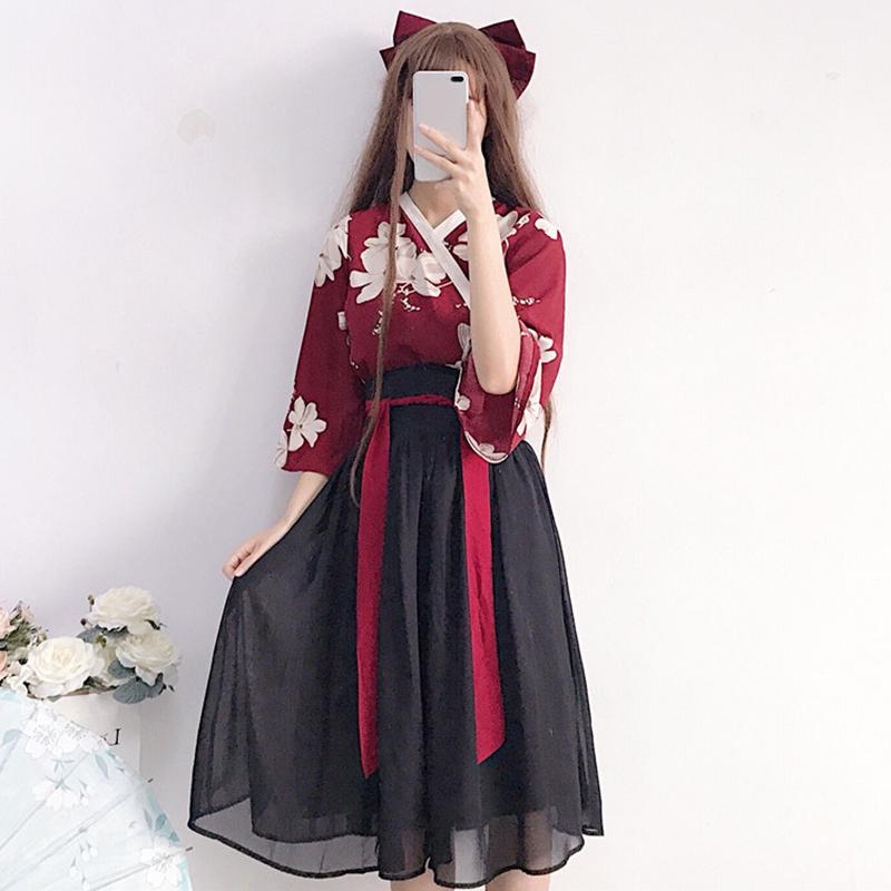 2018夏装女装新款少女花间谣古风改良复古汉元素中国风半身裙套装