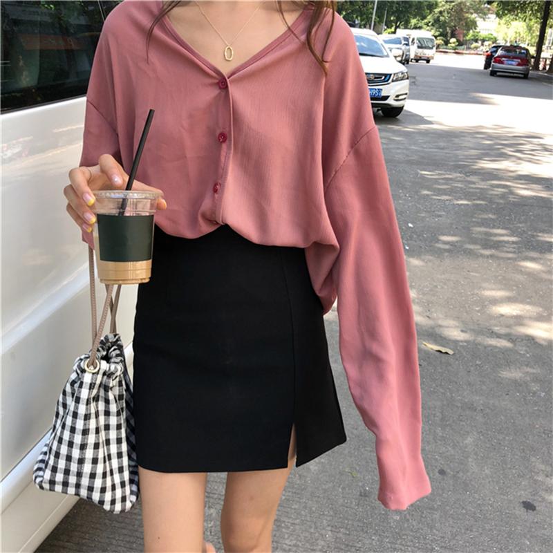 夏装新款韩版chic宽松显瘦V领长袖雪纺衫女学生休闲开衫上衣外套