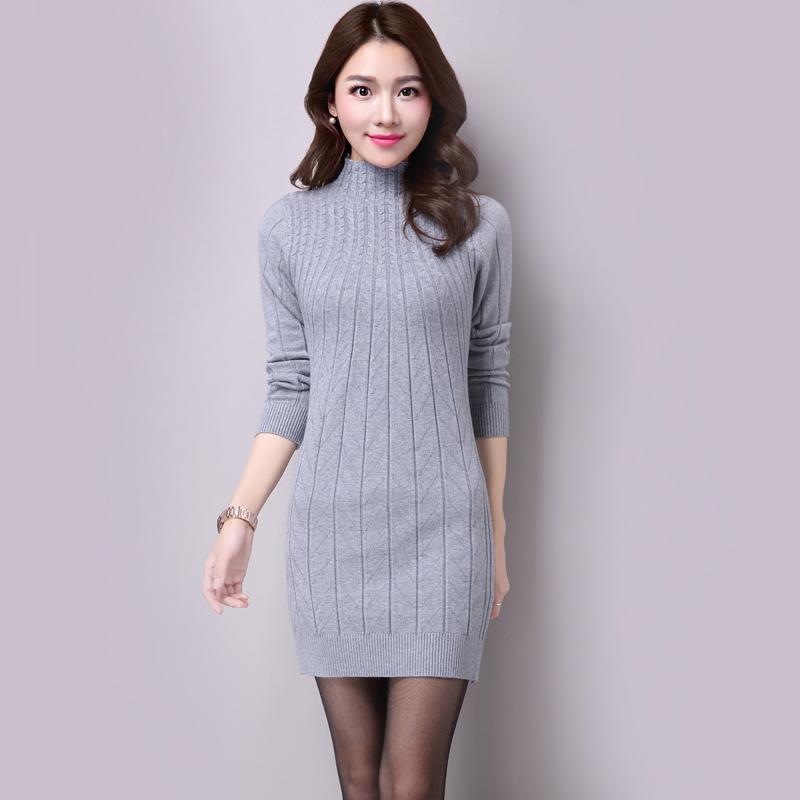 2016年秋冬新款中长款毛衣时尚修身针织衫半高领韩版打底衫毛衣裙
