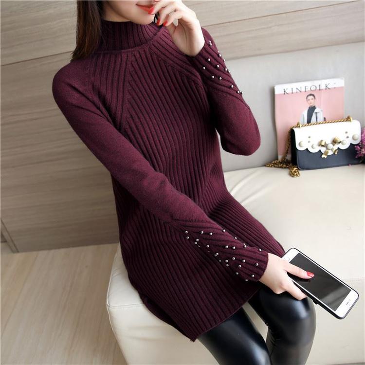 2017冬季半高领毛衣女套头加厚针织衫韩版中长款毛衣裙大码打底衫
