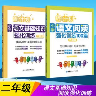 周计划2册 小学二年级阅读理解专项训练书+语文基础知识强化专项 答题技巧每日一练2年级上册下册语文数学书同步训练全套 暑假作业