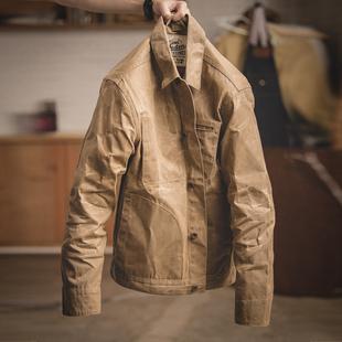 马登工装美式复古着翻领帆布油蜡夹克阿美咔叽修身痞帅外套型男装