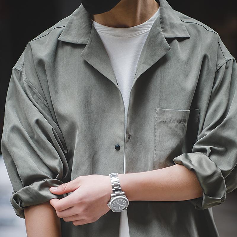 马登工装美式古巴领长袖衬衫日系叠穿古着宽松桃皮绒V领衬衣男寸