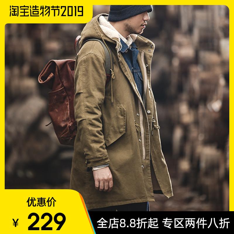 马登工装 复古M51鱼尾风衣阿美咔叽长款冬季外套男羊羔绒连帽大衣
