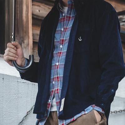 马登工装美式复古航海灯芯绒外套叠穿船锚深蓝色抓绒条绒衬衫男潮