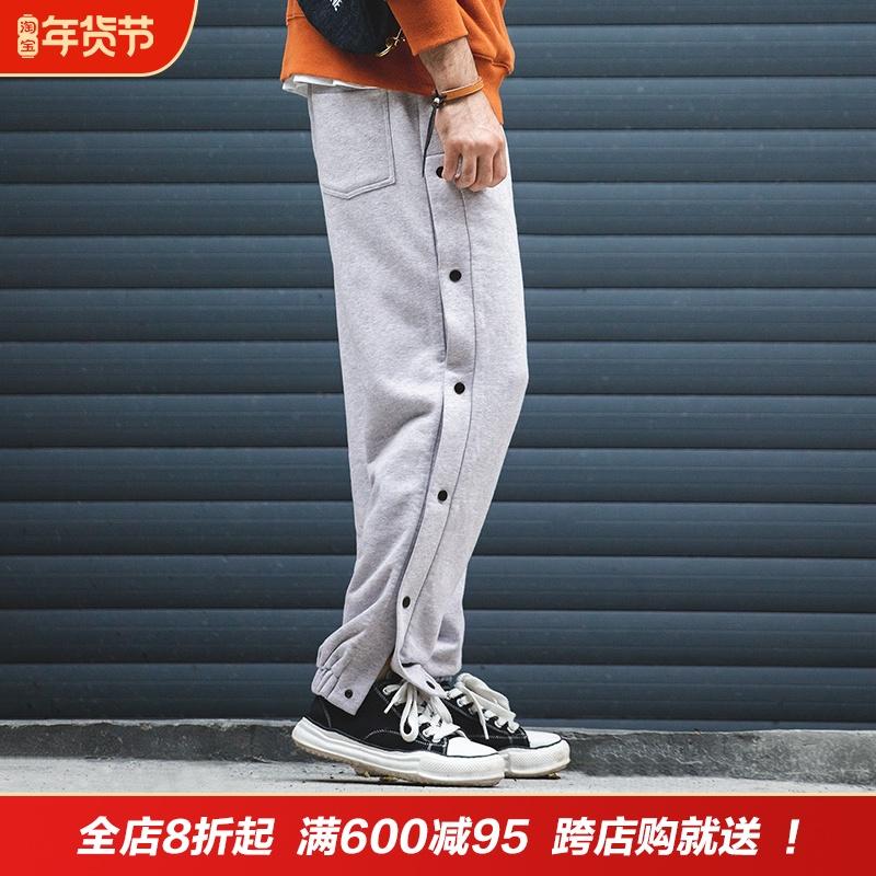 马登工装美式复古直筒小脚休闲排扣卫裤秋冬篮球训练重磅运动裤男