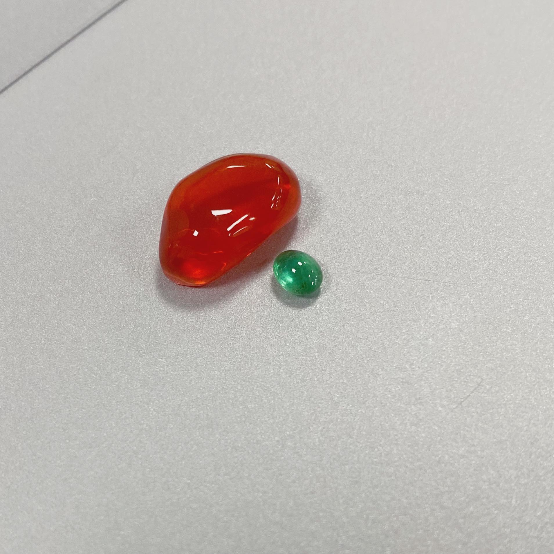 小蘑菇 墨西哥橙红色火欧泊 祖母绿蛋面 裸石彩宝戒指吊坠项链