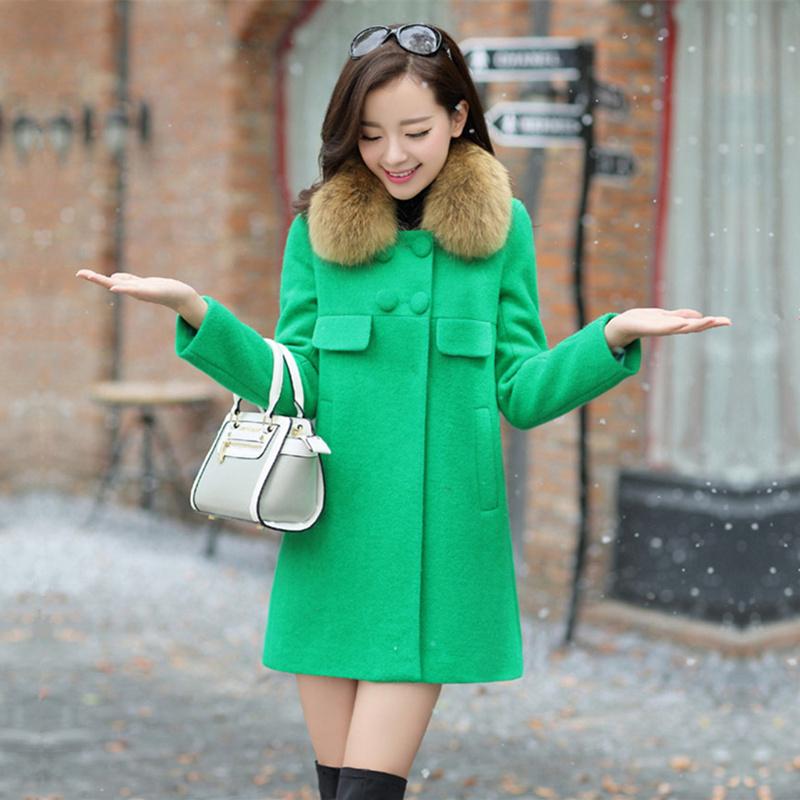 换季清仓特价加厚呢大衣秋冬季中长款真貉子毛领毛呢外套女装潮
