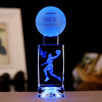 NBA水晶篮球纪念品摆件欧文詹姆斯科比人偶模型diy定制男生日礼物