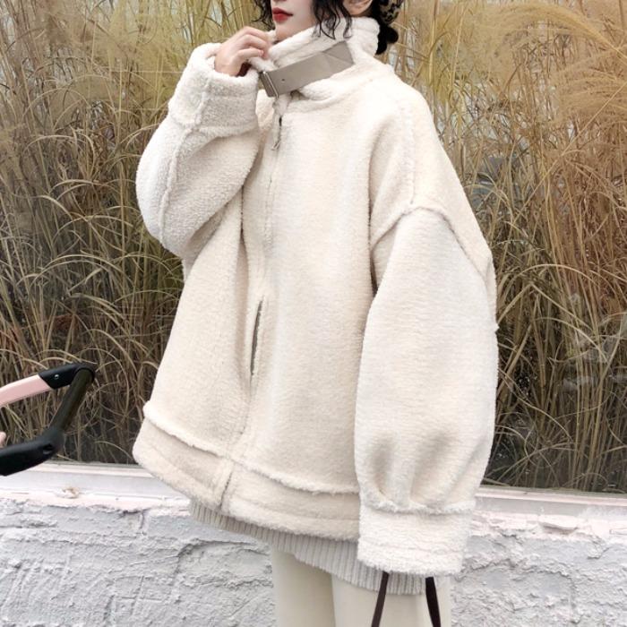 加厚羊羔毛鹿皮绒外套2018秋冬装韩版学生BF宽松情侣机车外套女潮