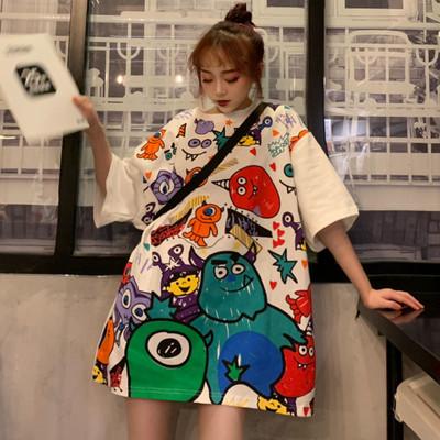 萌系宽松短袖女夏秋韩版大码上衣t圆领中长款bf卡通涂鸦印花T恤