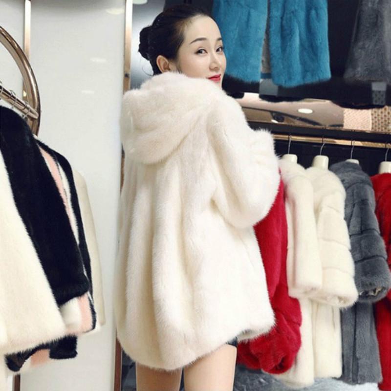 2020 new fur womens medium and long mink coat with hood imitation mink fur female Rex rabbit hair thickened coat winter