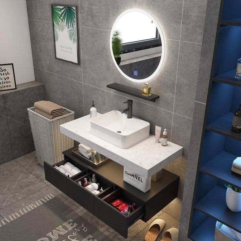 北欧浴室柜现代简约大理石洗手脸面盆柜组合卫生间洗漱台卫浴镜柜(非品牌)