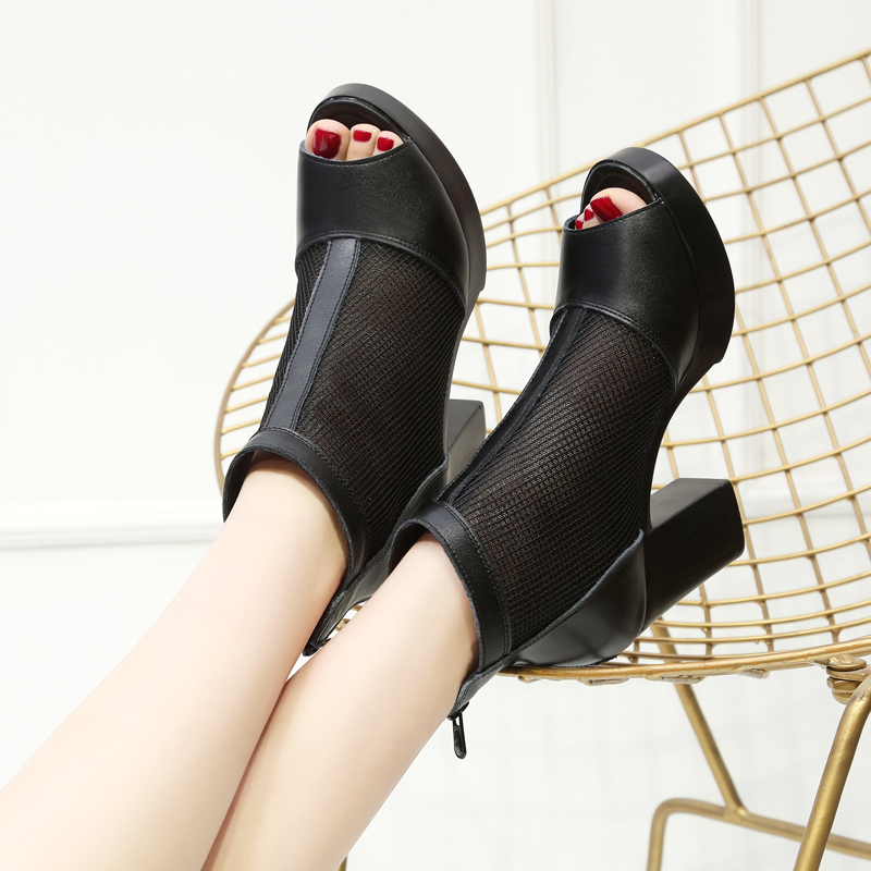 Spring and summer new fish mouth gauze womens shoes leather sandals versatile high heel net boots thick heel hollow mother sandals womens shoes