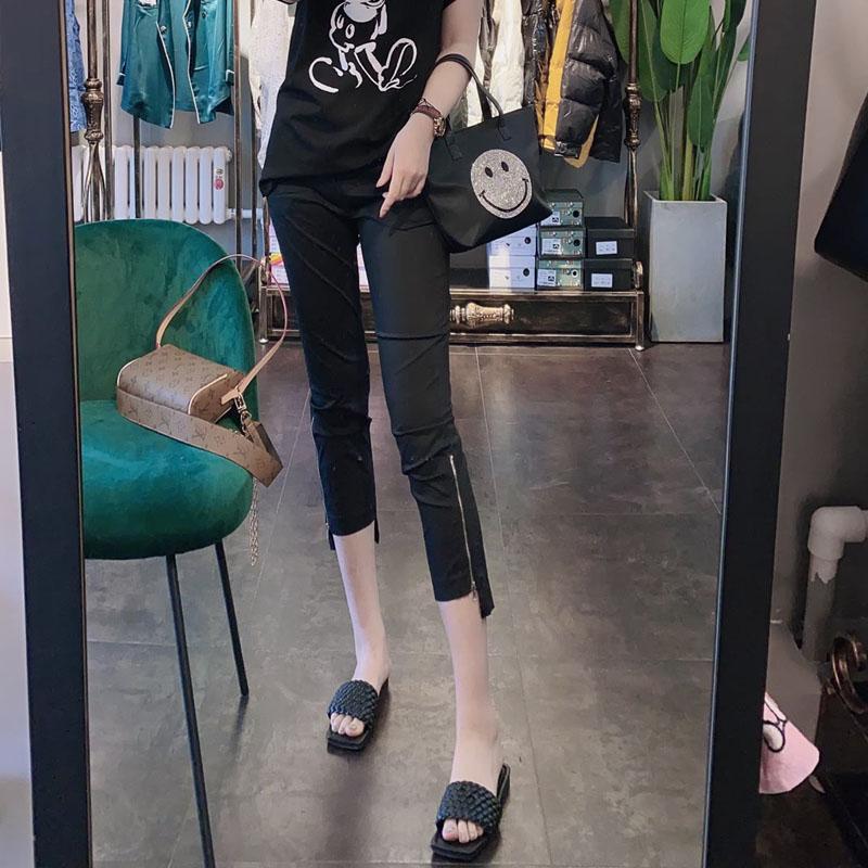 欧洲站九分裤2021夏季新款侧拉链超薄面膜裤纸皮裤铅笔小脚裤女