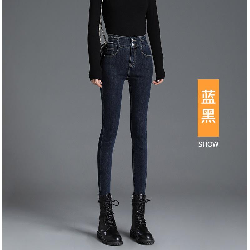香港高腰牛仔裤女显瘦秋装2020年新款刺绣九分弹力紧身铅笔小脚裤