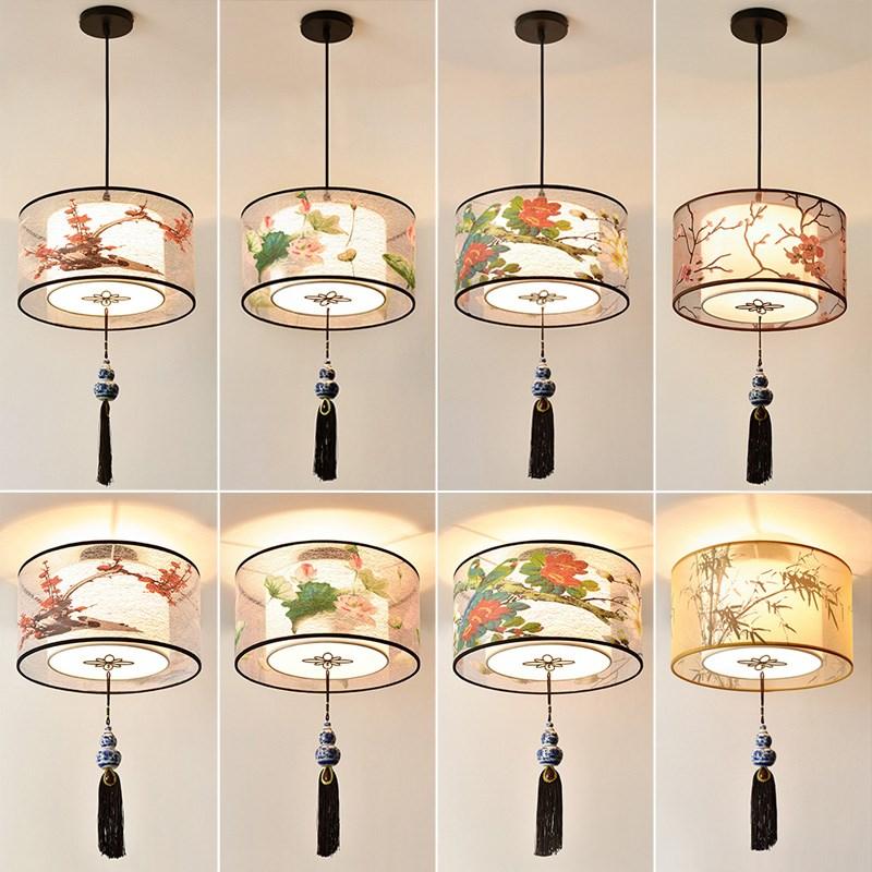 中式吊灯羊皮圆形餐厅饭店灯具仿古实木艺古典茶楼客厅复古中国风-蒙莱特灯饰