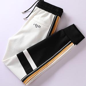 秋季时尚潮流个性黑白拼接撞色男裤