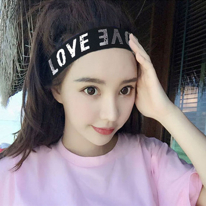 Korean spring and summer headwear, hair ornament, letter headband, mens and womens washcloth, wide headband, sports headband and Hairband