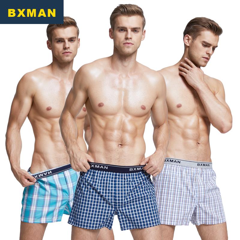 BXMAN3条装宽松平角裤男士内裤纯棉梭织阿罗裤中腰家居短裤男睡裤