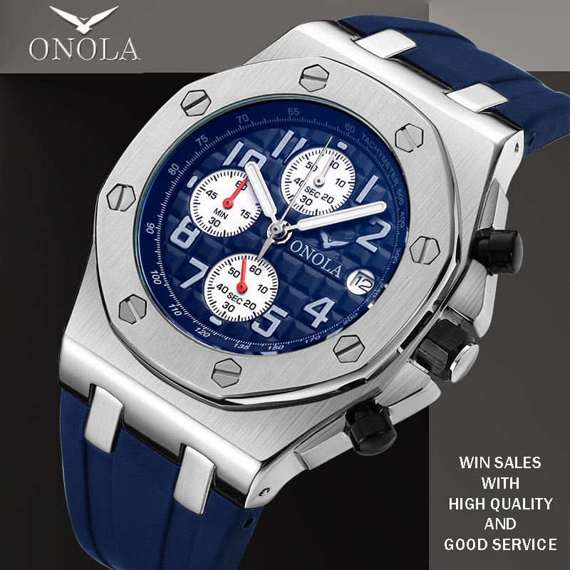 Fashionable and cool student mens watch onola genuine popular comfortable belt stainless steel quartz luxury mens style