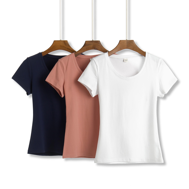 夏装短款纯白色t恤女短袖修身半袖2020年新款纯棉上衣t桖打底衫潮