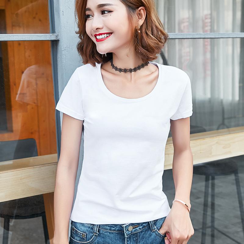 夏装纯色新款短袖T恤女士2020修身半袖T桖上衣百搭打底衫白色体恤