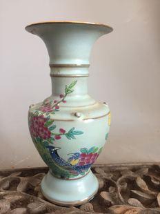 宋代汝窑天青釉描金绘画收藏古董古玩瓷器仿古瓷摆件农村老货