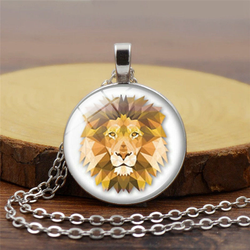 E-commerce accessories lion time gem creative European and American Glass Pendant Necklace Jewelry