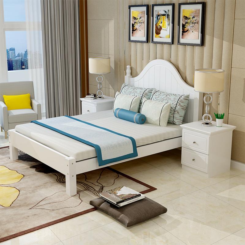 欧式双人床1.8主卧现代简约单人床1.5米出租房经济型地中海实木床